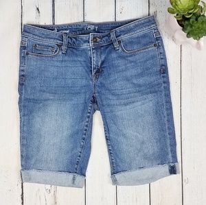 Ann Taylor Loft Cutt Off Denim Jean Shorts Knee Le